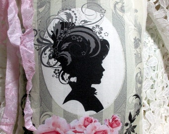Silhouette LADY Pillow, Pink ROSES, Shabby Pillow, Victorian Lady PILLOW, Pink Roses Pillow