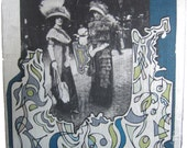 Extravagant clothing - vintage fashion collage on wooden panel