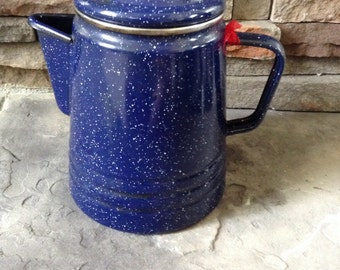 Chippy Blue Enamel Coffee Pot