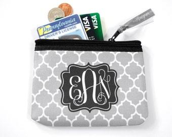 Monogrammed Coin Purse | Monogram Coin Pouch | Small Zipper Pouch | Coin Bag