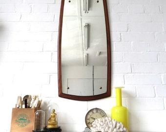 Vintage Large Danish Teak Wall Mirror Mid Century Modernist Mirror