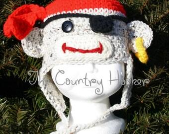 Custom Crochet Pirate Sock Monkey Earflap Hat