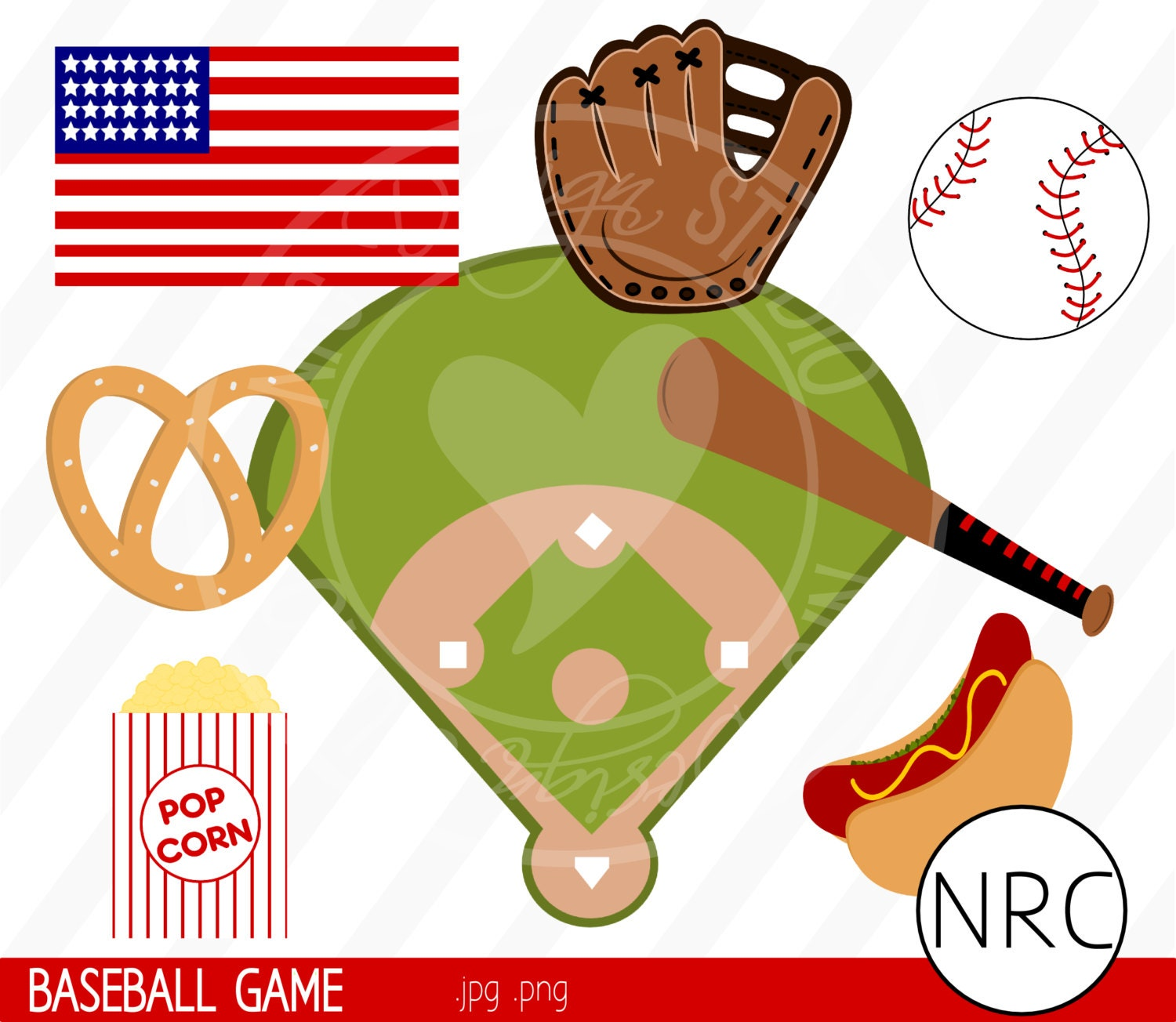 Baseball Game Sports Clip Art Boy Pretzel by NRCDesignStudio