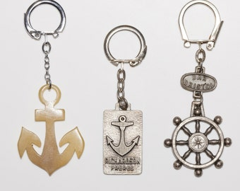 Set of 3 - French Vintage Advertising Key Chains / Keyrings - Anchor / Marine / Nautical