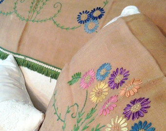 Vintage embroidered floral chairbacks - sofa and chair - multi-coloured with green fringing.