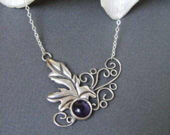 Fairy Leaf and Vines Necklace with Amethyst Grape - Sterling Silver Necklace - Nature Design - Woodland Necklace