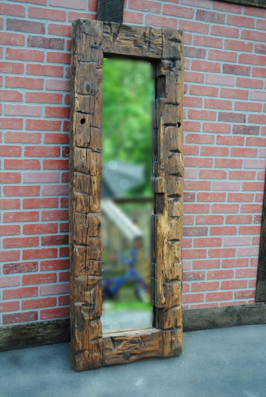 Mirror Reclaimed Wood Hand Hewn Barn Beam Framedfull