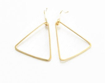 Gold Filled Earrings//Triangle Earrings//Women Earrings// Gold Jewelry// Spring Jewelry