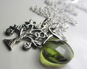 925 Sterling Silver Money Tree Necklace Olivine Swarovski Crystal Necklace Olive Green Pendant Swarovski Briolette Necklace Money Amulet