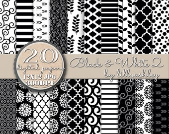 Black and White Digital Paper Pack of 20--JPG format--12x12-Commercial Use Medallion Quatrefoil Swirls Leaves Arrows Moroccan Stripes Etc!
