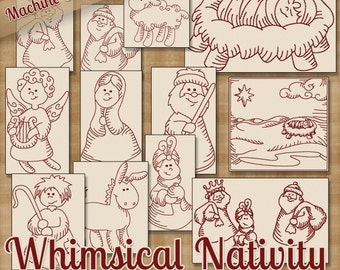 Whimsical Nativity Redwork Machine Embroidery Patterns / Designs - 4x4 and 5x7 Hoop - 12 Designs INSTANT DOWNLOAD