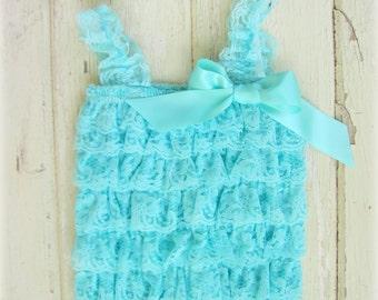 Aqua Lace Baby Romper and Headband - Aqua and Cream Lace - Photo Props, Newborn, Baby Girl Romper