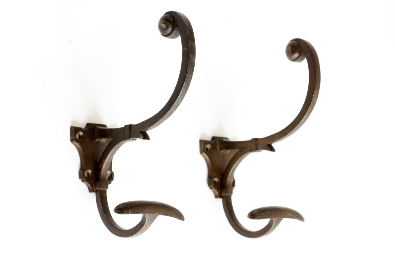 2 large antique french bronze coat hooks art nouveau hook for Artistic coat hooks