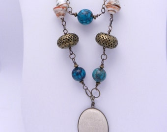 Tribal necklaces turquoise and antique brass