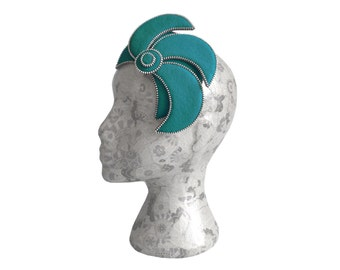 Teal & Silver Burlesque Fascinator - Zip and Felt