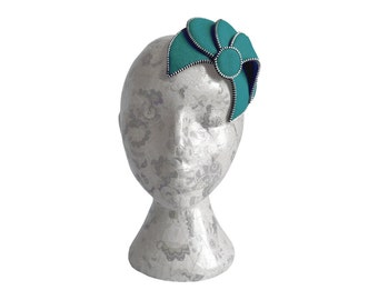 Teal & Silver Fascinator - Zip and Felt