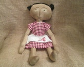 Handmade Grungy Primitive Coffee Stained Doll