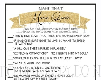 Bridal Shower Printable Game (Gold Glitter) Love Quotes from Chick Flick Movies - Instant Download - from the NORTH