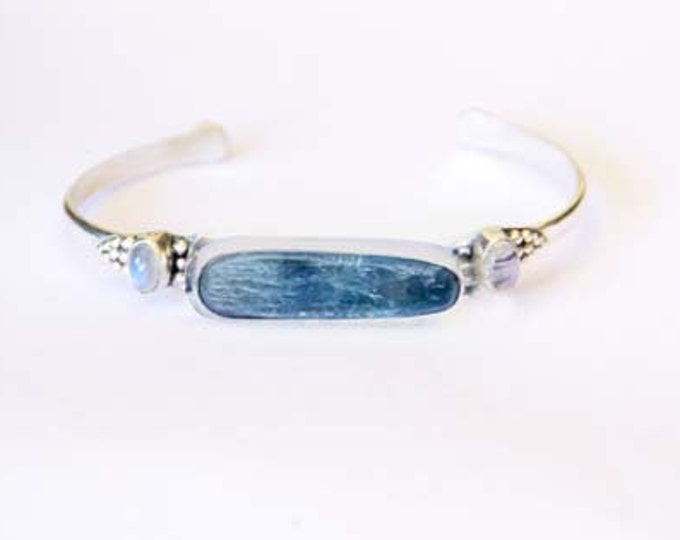 Kyanite Cuff, Bangle, Moonstone Jewelry, Moonstone bracelet, Boho Bracelet in Solid 925 Sterling Silver and natural Gemstones