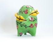 Sculptured Ceramic  Green Decorative Vase