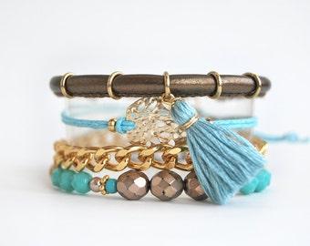 Bohemian bracelet stack, gold and turquoise set of bracelets, arm candy, stacking bracelets, boho chic festival jewelry
