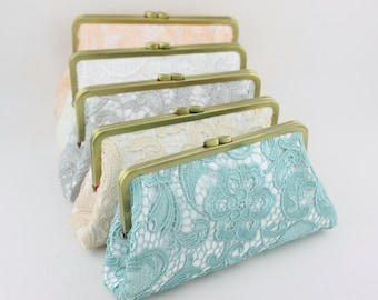 Custom Bridesmaid Clutches / Rustic Bridesmaid Clutches / Monogrammed Wedding Party Gifts - Set of 4