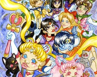 Pretty Guardian Sailor Moon, Original Watercolor Painting