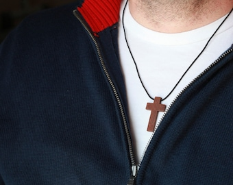 Mens Wood cross - Mens Wood Cross Necklace - Wood cross - Stunning Wood cross