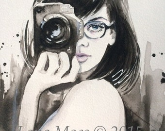 Camera Girl Print from Original Watercolor Painting - Fashion Illustration by Lana Moes