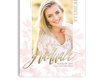 Senior Graduation Card - High School Senior Photography Template - 5x7 Flat Card  - ISABELLA - 1414