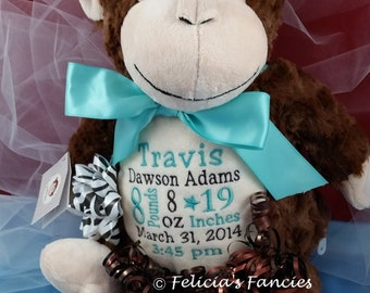 Monkey baby gift etsy personalized stuffed animal personalized baby gift huggles monkey cubbie with birth announcement by felicias negle Image collections