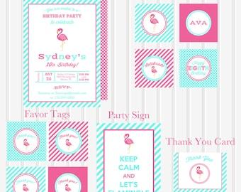 SUMMER SALE Pink Flamingo Printable COLLECTION Birthday by Marbella Printables