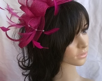 Fuschia Pink fascinator..with rosettes ,leaves and crystal stamens