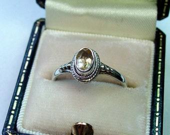 Vintage Sterling Citrine Ring - Sz. 6 1/2