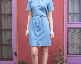 Salvaged Short Sleeve Lace Collared Pleated Denim Shirt Dress with Spaghetti Waist Tie - Medium