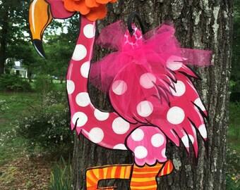 Cutesy flamingo door hanger