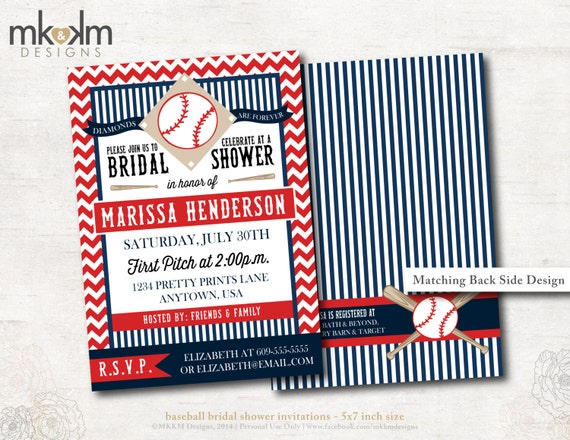 Baseball Wedding Invitation: Baseball Bridal Shower Invitation : Couples Shower By