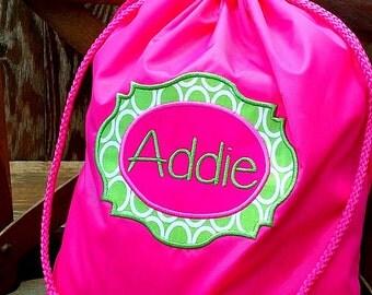 Children's Monogrammed Drawstring Bag, Tote Bag, Ballet Bag, Dance Bag, Book Bag, Media Bag
