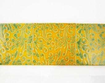 "Three Tiles - 'F. Marazzi' Sassuolo, Italy Ceramic Tiles - Mid-Century '60s - Deep Mustard Gold and Greens - 7 3/4"" Square - Trivets"