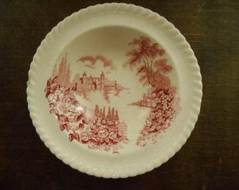 Vintage English bowl White pink bowl set Castle on the Lake Johnson Bros England bowls Small bowl set