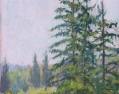 """Original Pastel Landscape Painting, morning mist fog country scene summer - """"Misty Morning"""" by pastel artist Colette Savage, Rochester NY"""