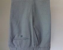 1960s Men's Plaid Pants Trousers Blue Silver Gray Vintage Clothing 35 Gingham