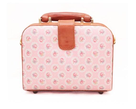 Handmade Pink Flower Bag, Pink Bag, Square Bag, Brown Leather Bag, Leather Handbag, Leather Briefcase, Crossbody Bag, Shoulder Bag