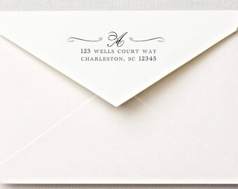 Custom rubber stamp mounted wooden handle return address stamp