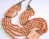 Coral Angel Skin Necklace, 5 Multi Strand, Ethnic Handmade, Vintage