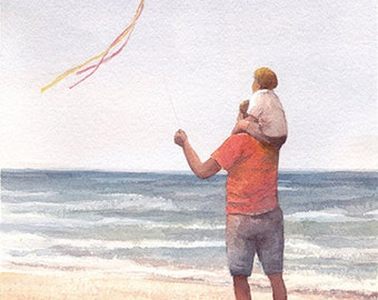 Father and Son Flying a Kite Art Print of Watercolor Painting - Beach Nautical Themed, Nursery Boys Room