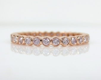 2.1mm Bezel Set Round Pink Diamond Eternity Band in 18k Rose Gold - Stacking Rings