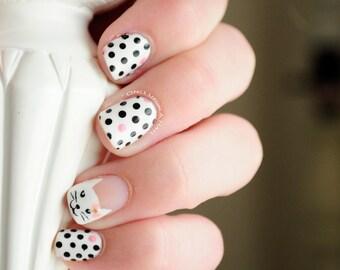 Cat and Polka Dots Hand Painted Fake Nails