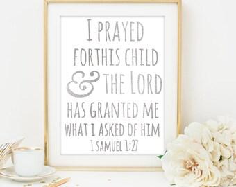 1 samuel 1 27 Christian nursery art Nursery scripture Nursery for this child i have prayed religious nursery art nursery printable decor