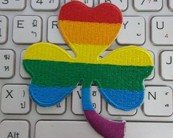 Shamrock Iron on Patch - Rainbow Shamrock Applique Embroidered Iron on Patch